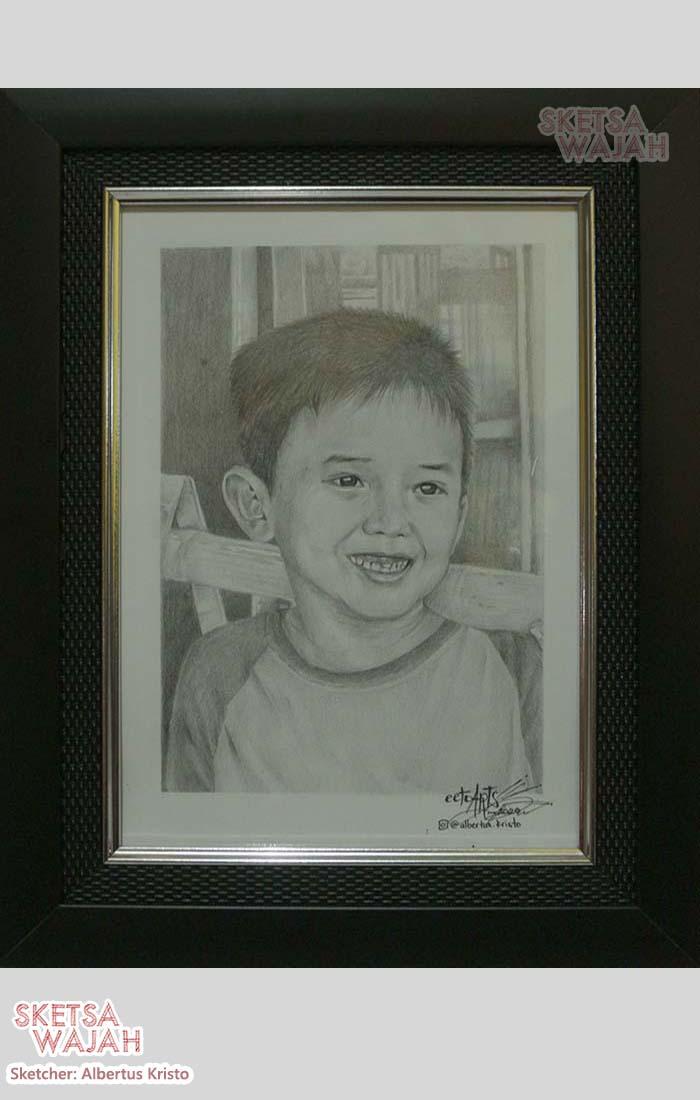 Sketsa realis hitam putih A4 Albertus Kristo 3