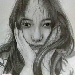 Sketsa realis hitam putih A4 Albertus Kristo 4