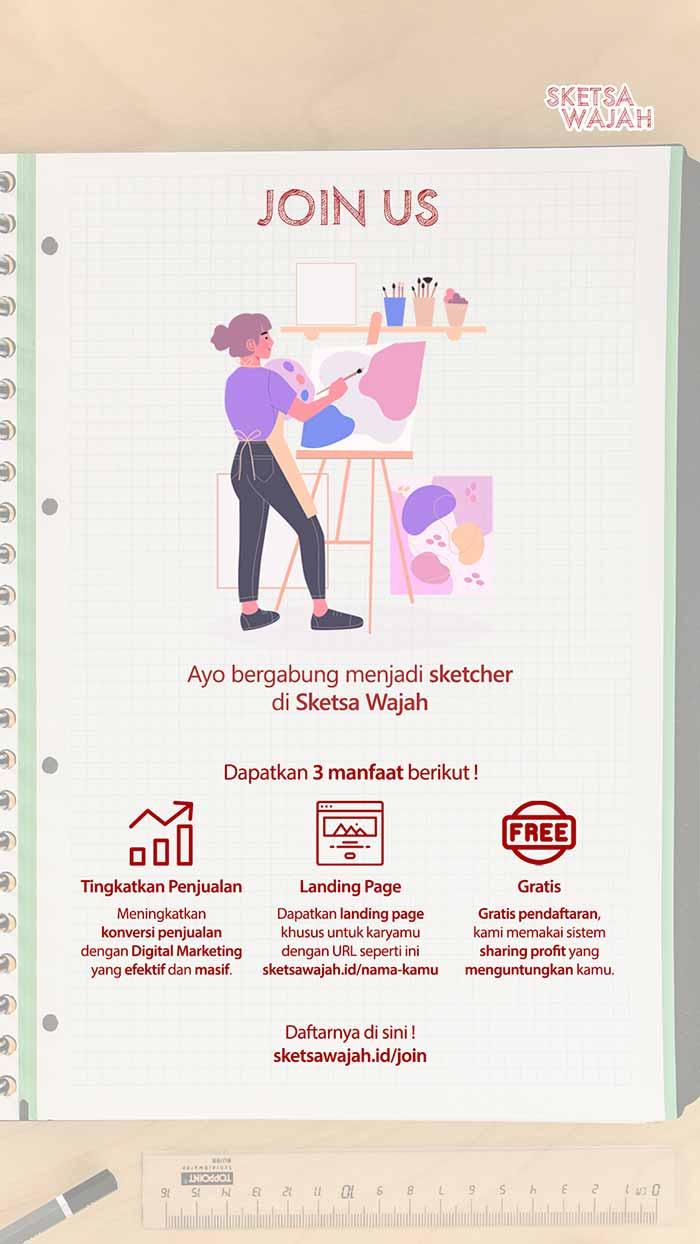 Poster Join Us Sketsa Wajah