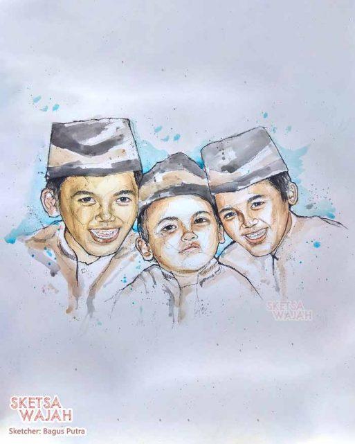 Sketsa Wajah Realis Berwarna Water Color Bagus Putra 4