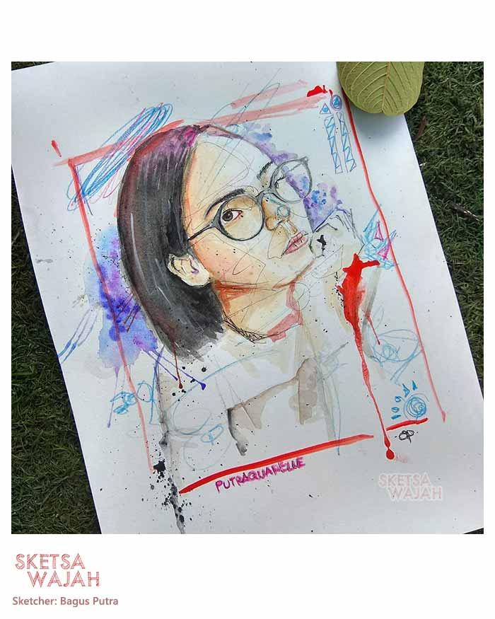 Sketsa Wajah Realis Berwarna Water Color Bagus Putra 5