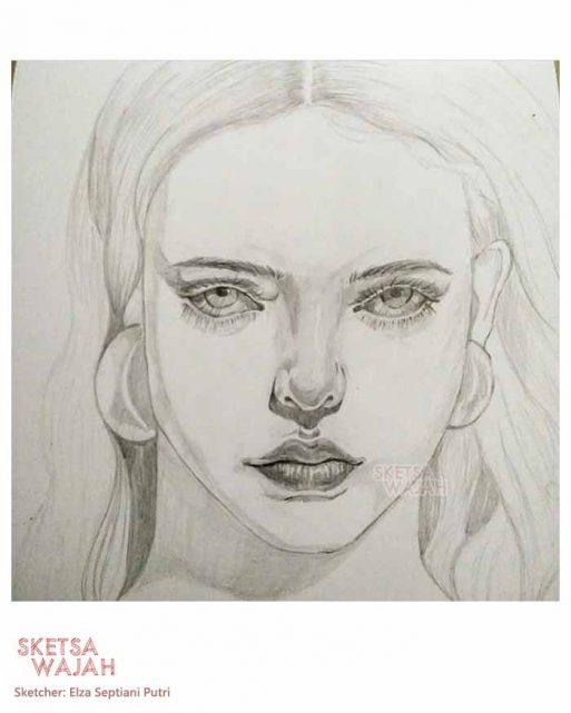 Sketsa realis hitam putih Elza Septiani Putri 1