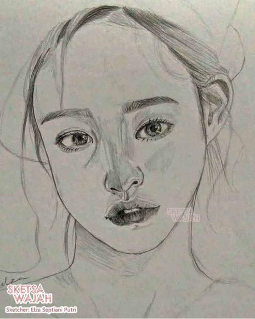 Sketsa realis hitam putih Elza Septiani Putri 3