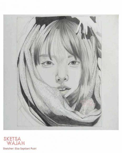 Sketsa realis hitam putih Elza Septiani Putri 4