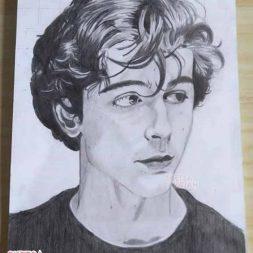 Sketsa realis hitam putih Elza Septiani Putri 5