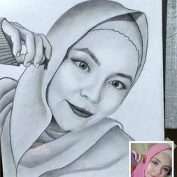 Sketsa realis hitam putih Muhammad Widi 3