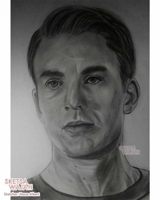 Sketsa realis hitam putih Yosua Albert 2