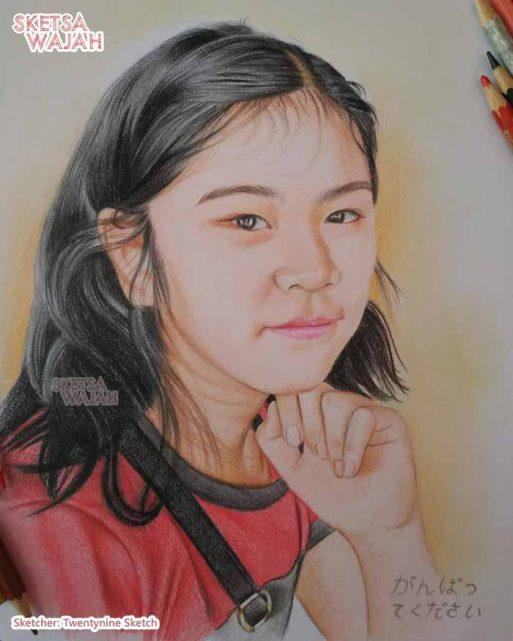 Sketsa Wajah Realis Berwarna Nurcahya Muhammad Ridwan 3