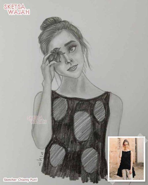 Sketsa Wajah Realis Hitam Putih Chianty Putri 2