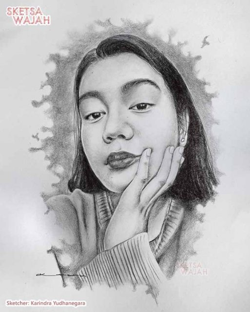 Sketsa Wajah Realis Hitam Putih Karindra Yudhanegara 4