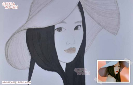 Sketsa Wajah Realis Hitam Putih Mercy Delzarini Hanafi 1