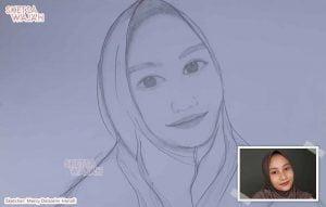 Sketsa Wajah Realis Hitam Putih Mercy Delzarini Hanafi 2