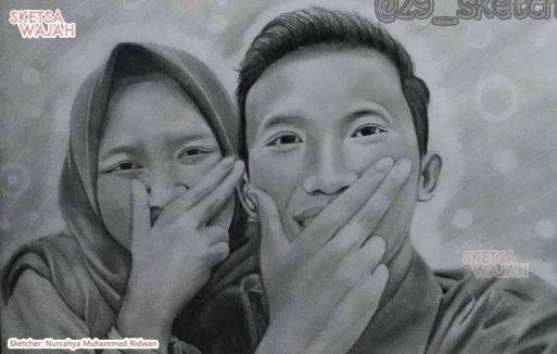 Sketsa Wajah Realis Hitam Putih Nurcahya Muhammad Ridwan 4