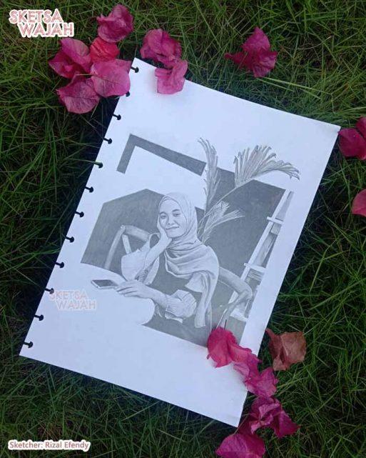Sketsa Wajah Realis Hitam Putih Rizal Efendy 1