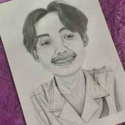 Sketsa Wajah Realis Hitam Putih Siti Faradhilla 1