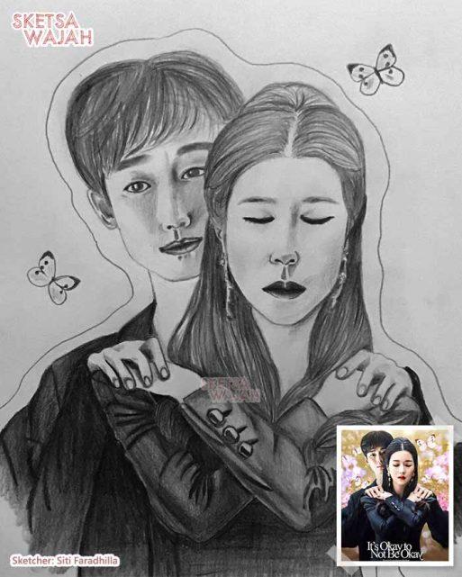 Sketsa Wajah Realis Hitam Putih Siti Faradhilla 2