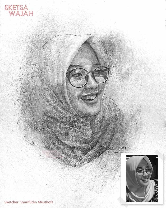 Sketsa Wajah Realis Hitam Putih Syarifudin Musthofa 3