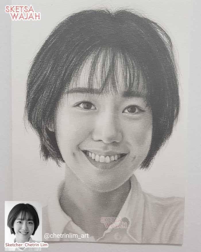 Sketsa Wajah Hitam Putih Chetrin Lim 1