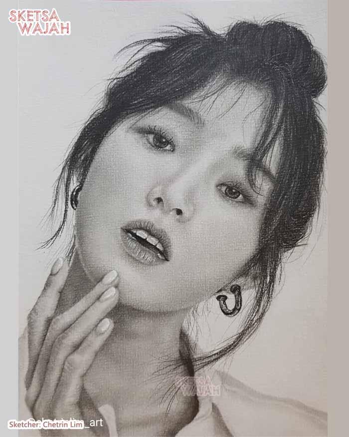 Sketsa Wajah Hitam Putih Chetrin Lim 2
