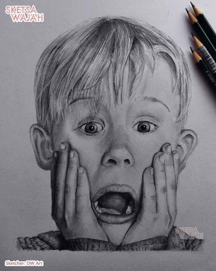 Sketsa Wajah Hitam Putih DW Art 3