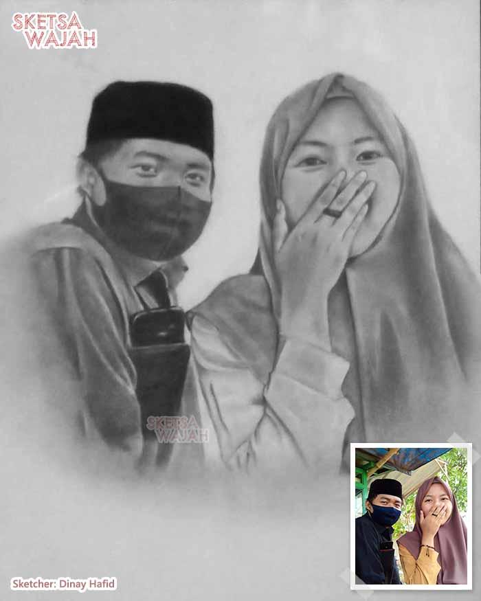 Sketsa Wajah Hitam Putih Dinay Hafid 2