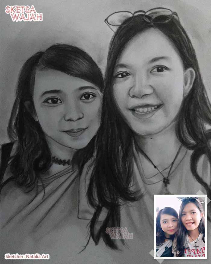 Sketsa Wajah Hitam Putih Natalia Art 1