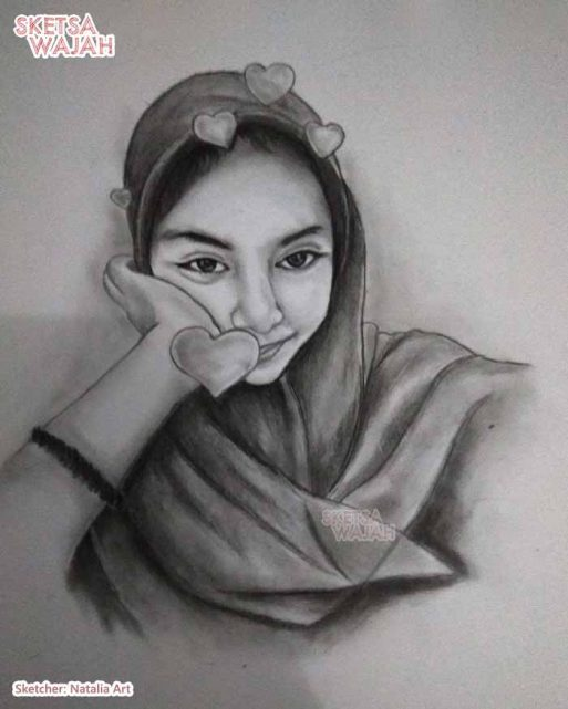 Sketsa Wajah Hitam Putih Natalia Art 2